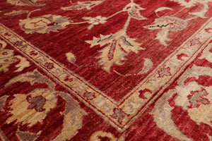 6x9 Hand Knotted Persian 100% Wool Stone Wash Peshawar Traditional Oriental Area Rug Wine/ Tan Color