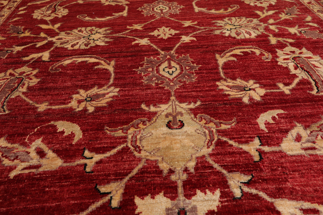 06' 00''x08' 09'' Rusty Red Wine  Tan Color Hand Knotted Persian 100% Wool Traditional Oriental Rug