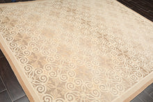8x10 Hand Knotted 100% Wool French  Aubusson by Schumacher Oriental Area Rug Ivory, Tan Color
