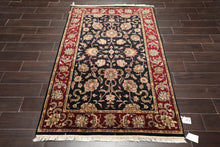 4x6 Hand Knotted Persian 100% Wool Agra Traditional Oriental Area Rug Black, Burgundy Color