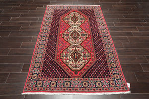 4x6 Hand Knotted Persian 100% Wool Tribal Traditional 200 KPSI Oriental Area Rug Rose, Navy Color