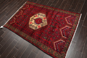 4x6 Hand Knotted Persian 100% Wool Tribal Traditional Oriental Area Rug Rusty Red, Ivory Color