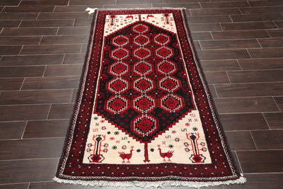 4x6 Hand Knotted Persian 100% Wool Tribal Traditional Oriental Area Rug Black, Ivory Color