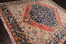 4x6 Hand Knotted Sino Persian 100% Wool Traditional 200 KPSI Oriental Area Rug Ivory, Navy Color