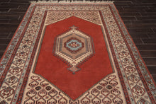 6x9 Hand Knotted Persian 100% Wool hamadan Traditional 200 KPSI Oriental Area Rug Teracotta, Beige Color