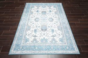 "5'1""x9'10"" Red Ivory Blue, Green, Grey, Multi Color Hand Knotted Persian Oriental Area Rug Wool Traditional Oriental Rug"