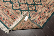 6x9 Hand Knotted Persian Wool and Silk Traditional 200 KPSI Oriental Area Rug Teal Green, Tan Color