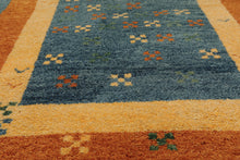 4x6 Hand Knotted Persian 100% Wool Gabbeh Traditional Oriental Area Rug Blue, Burnt Orange Color