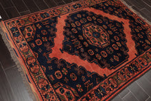 5x7 Hand Knotted Persian 100% Wool Tribal Traditional Oriental Area Rug Navy, Coral Color