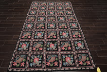 6x9 Hand Made Hand Hooked 100% Wool Traditional Oriental Area Rug Black, Beige Color
