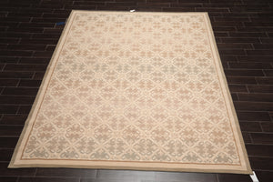 8x10 Schumacher Hand Knotted Persian 100% Wool French Aubusson Savonnerie Oriental Area Rug Beige, Tan Color