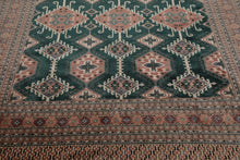 8x10 Hand Knotted Persian Wool and Silk Bokhara Traditional Oriental Area Rug Teal Green, Rose Color