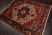 5x7 Hand Knotted Persian 100% Wool Heriz Traditional Oriental Area Rug Ivory, Red Color