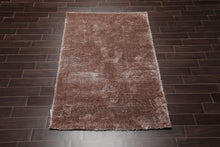 6'X9'  Brown Color Machine Made Shag Polypropylene solid Oriental Rug