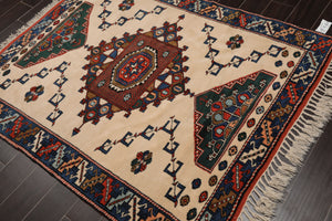4x6 Hand Knotted Persian 100% Wool Kazakh Traditional Oriental Area Rug Ivory, Blue Color
