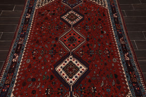 5x7 Hand Knotted Persian 100% Wool Yalameh Traditional Oriental Area Rug Red, Ivory Color