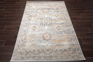 3' x5'  Silver Gray White Color Machine Made Persian Polypropylene Modern & Contemporary Oriental Rug