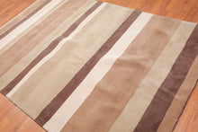 "5'6""x8'6"" Beige Tan Brown Color Hand Tufted Pile Area Rug 100% Wool Modern  Oriental Rug"