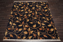 8x10 Hand Knotted Tibetan 100% Wool Traditional 150 KPSI Oriental Area Rug Navy, Tan Color