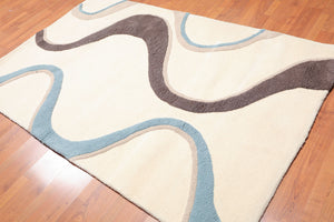 5'x8' Ivory Blue Brown, Tan Color Hand Tufted High Low Pile RUG 100% Wool Modern  Oriental Rug