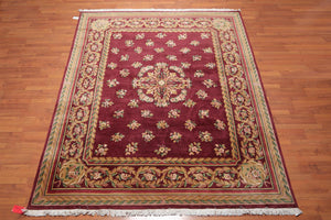 "8'x9'10"" Maroon Tan  Gold, Rose, Green, Multi Color Hand Knotted Savonerrie Oriental Area Rug 100% Wool Traditional Oriental Rug"