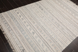5x7 Hand Made Shag Polyester Modern & Contemporary Oriental Area Rug Chocolate, White Color