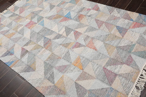 "5'1""x6'10"" Turquoise Rust Tan, Black, Multi Color Hand Knotted Flatweave Area Rug 100% Wool Traditional Oriental Rug"