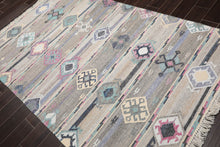 4x6 Hand Knotted Soumak 100% Wool Traditional Oriental Area Rug Beige, Gray Color