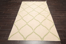 5x7 Hand Knotted Soumak 100% Wool Traditional Oriental Area Rug Beige, Lime Color