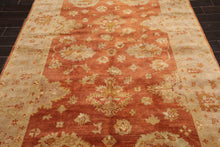 6x9 Hand Knotted 100% Wool Oushak Traditional Oriental Area Rug Burnt Orange, Taupe Color