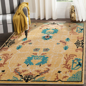 Gold Aqua Rust Color Persian style rugs.