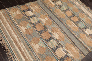 "5'x6'6"" Rust Ivory Black, Rose, Brown, Blue, Multi Color Hand Knotted Persian Oriental Area Rug 100% Wool Traditional Oriental Rug"