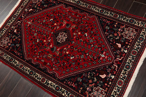 "6'x8'9"" Rusty Red Midnight Blue Olive Green, Aqua, Blue, Beige, Multi Color Hand Knotted Persian Oriental Area Rug 100% Wool Traditional Oriental Rug"