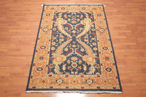 "5'6""x8'6"" Midnight blue Caramel Gold, Burgundy, Grey, Multi Color Hand Knotted Persian Oriental Area Rug 100% Wool Traditional Oriental Rug"