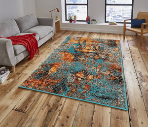 Turquoise Apricot Gold Color Machine Made Persian Polypropylene Modern & Contemporary Persian style rugs in living room area.