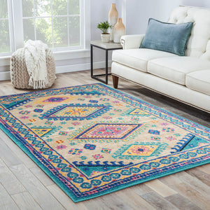 04' 00''x06' 00'' Tan Beige Turquoise Color boho rug in living room area.