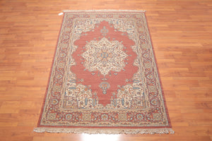 "6'2""x8' Rust Beige Blue, Grey, Brown, Multi Color Hand Knotted Persian Oriental Area Rug 100% Wool Traditional Oriental Rug"