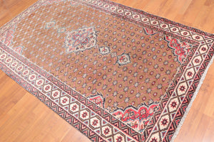 "4'9""x7'9"" Brown Ivory Black, Rose, Blue, Multi Color Hand Knotted Persian Oriental Area Rug 100% Wool Traditional Oriental Rug"