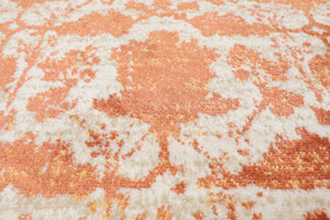 Ivory Beige Orange Color Machine Made Persian rug patterns.