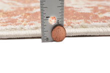 Width measurement of Ivory Beige Orange Color Machine Made Persian style rugs.