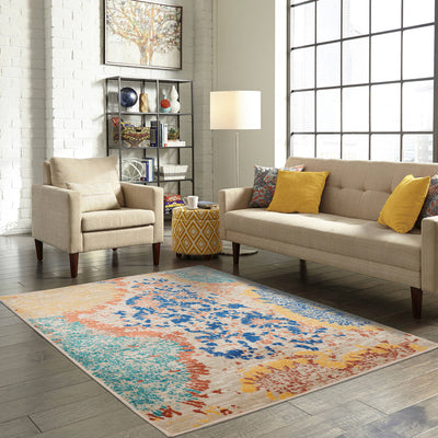 Multi Color Machine Made Persian style rugs in living room areas.