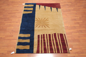 "5'7""x8'2"" Tan Gold Burgundy, Blue Color Hand Knotted Tibetan Area Rug 100% Wool Contemporary & Modern Oriental Rug"