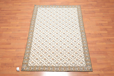 5'x8' Beige Sage Brown, Gold, Multi Color Hand Woven French Needlepoint Area Rug 100% Wool Traditional Oriental Rug