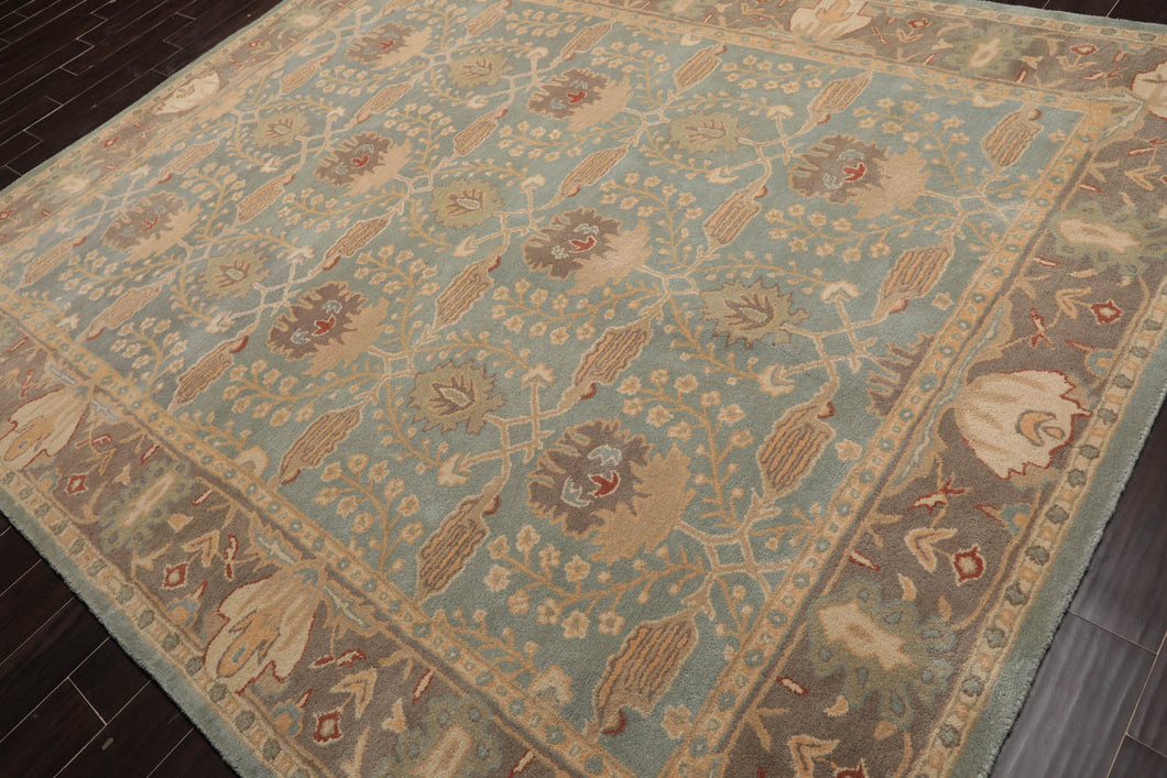 8'x11' Grey Gold Aqua, Blue, Tan, Rust, Burgundy, Multi Color Machiner Made Pile Area Rug 100% Wool Traditional Oriental Rug