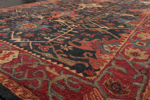"5'6"" x 7'10"" Hand Woven Blue Plaid Strip 100% Wool Flatweave Area rug"