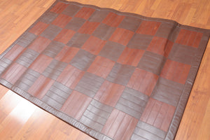"4'4""x6'3"" Tone on Tone Brown Color Hand Woven Flatweave Area Rug  100%Leather  Traditional Oriental Rug"