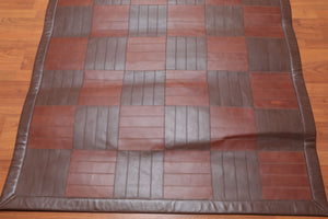 "4'4"" x 6'3"" Hand Woven Rare Ultra Hip Designer 100% Leather Flatweave Area rug"