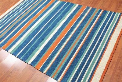 5'x8' Ivory Blue Aqua, Orange Color Hand Tufted  Pile Area Rug Polypropylene Contemporary & Modern Oriental Rug