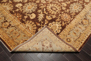 "6'8""x9'9"" Gold Beige Chocolate, Aqua, Brown, Multi Color Hand Knotted Tibetan Area Rug 100% Wool Traditional Oriental Rug"