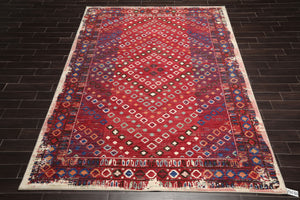 8' x11'  Red Ivory Blue Color Machine Made Persian 100% Wool Modern & Contemporary Oriental Rug.